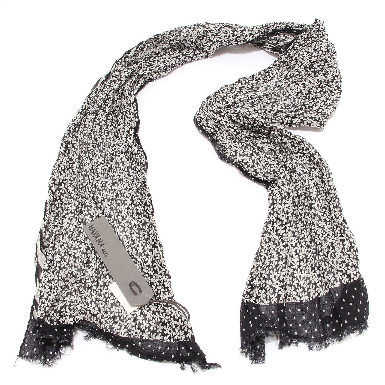 7840S sciarpa donna HAVANA & CO. nero/ bianco pashmina scarf woman [TAGLIA  UNICA]: Amazon.it: Abbigliamento