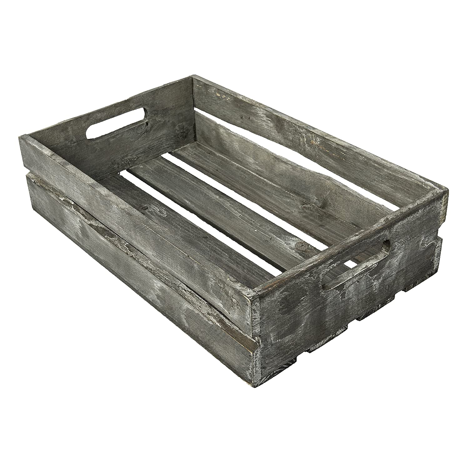 Set of 3 MyGift Farmhouse Style Barnwood Gray Wood Nesting Crates Rustic Open Top Storage Pallet Boxes