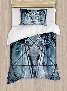 Ambesonne Horror House Duvet Cover Set, Artwork with Pentagram Goat Skull Devil Dream Hooded Exorcist Image, Decorative 2 Piece Bedding Set with 1 Pillow Sham, Twin Size, Blue