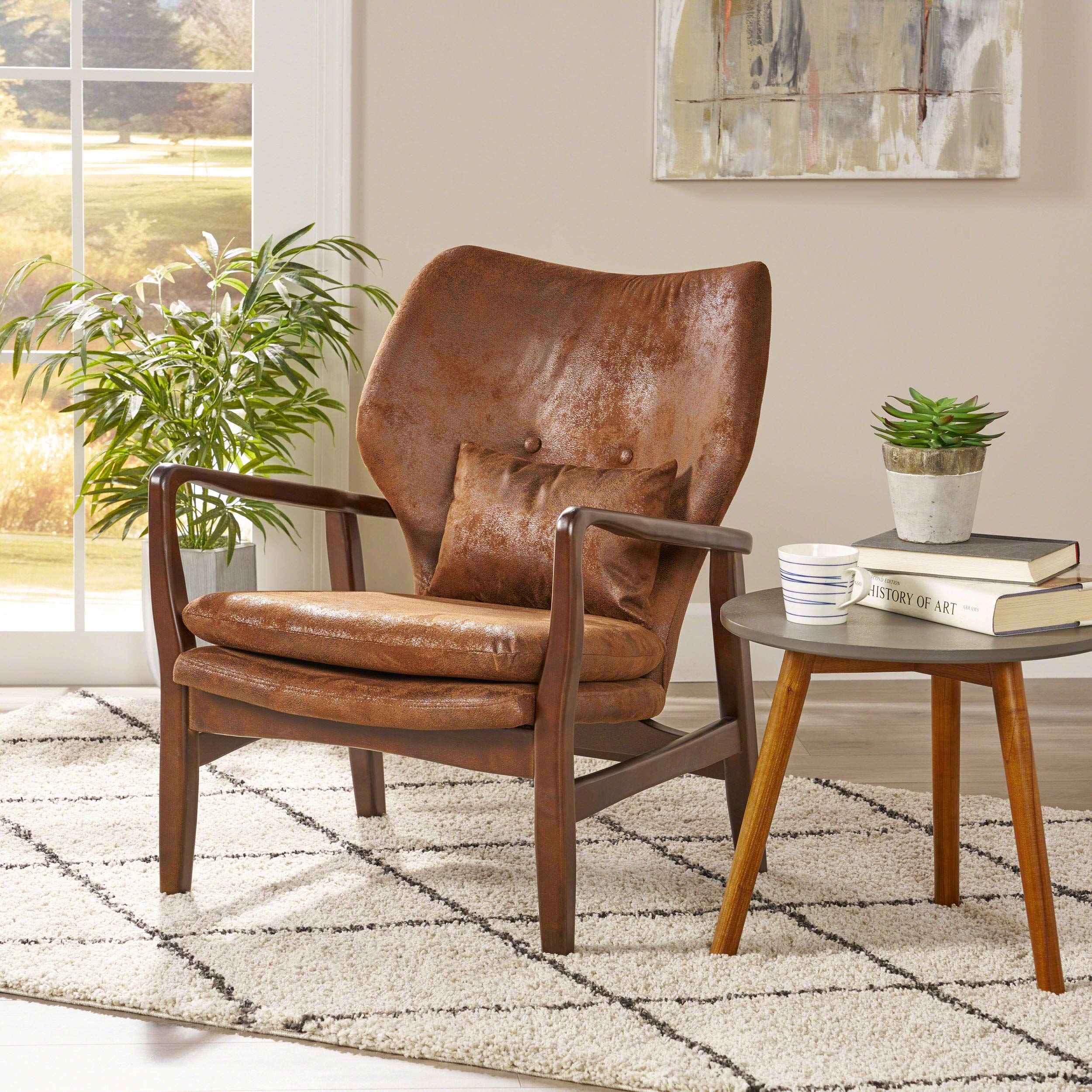 Christopher Knight Home Haddie Mid Century Modern Fabric Club Chair, Brown and Dark Espresso by Christopher Knight Home