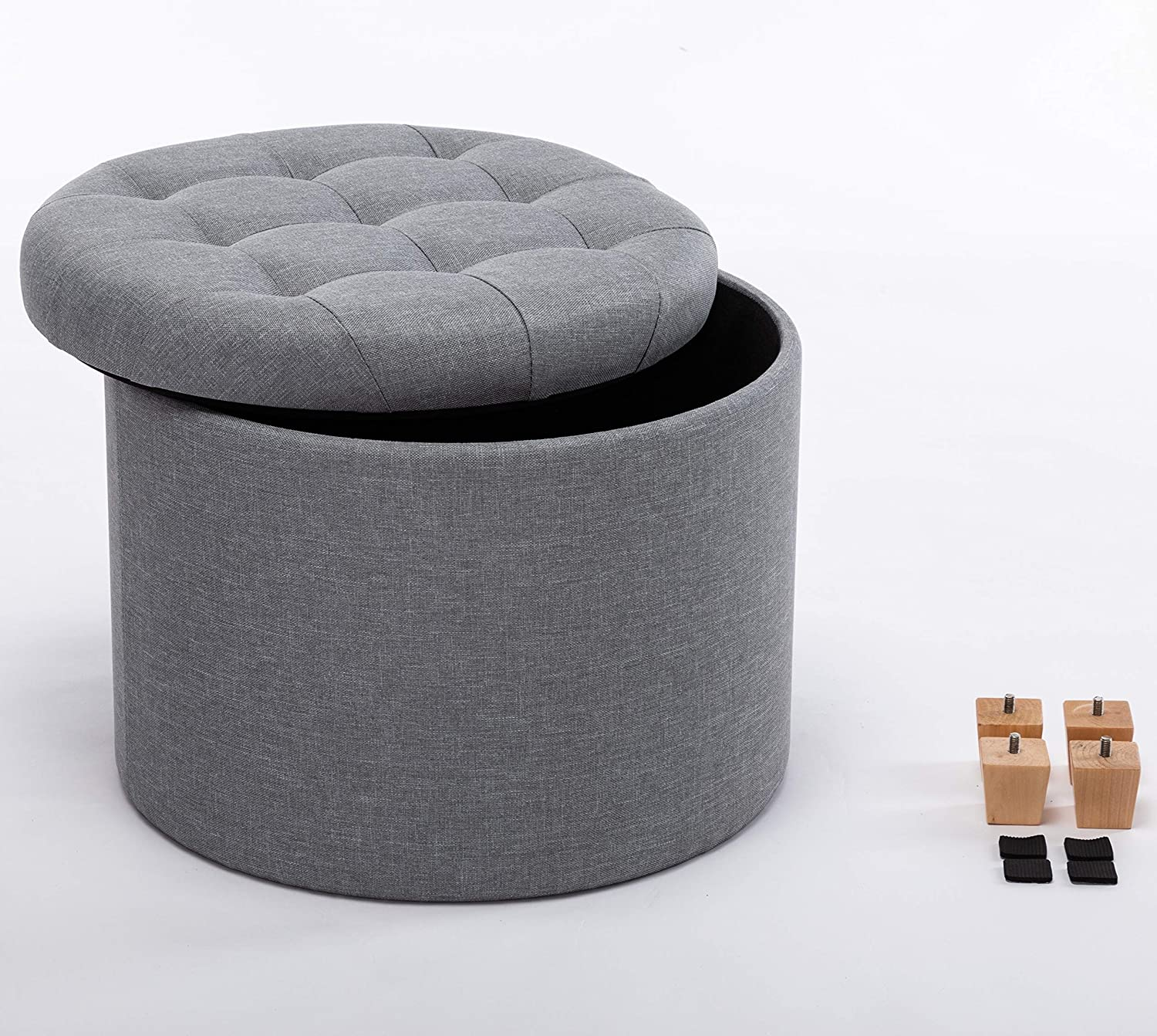 Light Grey HNNHOME/® 45cm Round Linen Padded Seat Ottoman Storage Stool Box Footstool Pouffes Chair with Lids