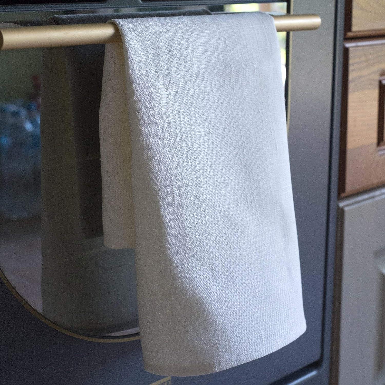 3 toallas de cocina 50x70 cm 100% lino natural blanco gris: Amazon.es: Hogar