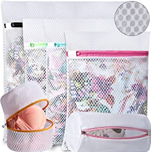 BAGAIL Set of 6 Honeycomb Mesh Laundry Bag for Sweater,Blouse,Hosiery,Stocking,Bras,Shoes,etc. Delicate Laundry Bags for Travel Storage Organization (6 Set)