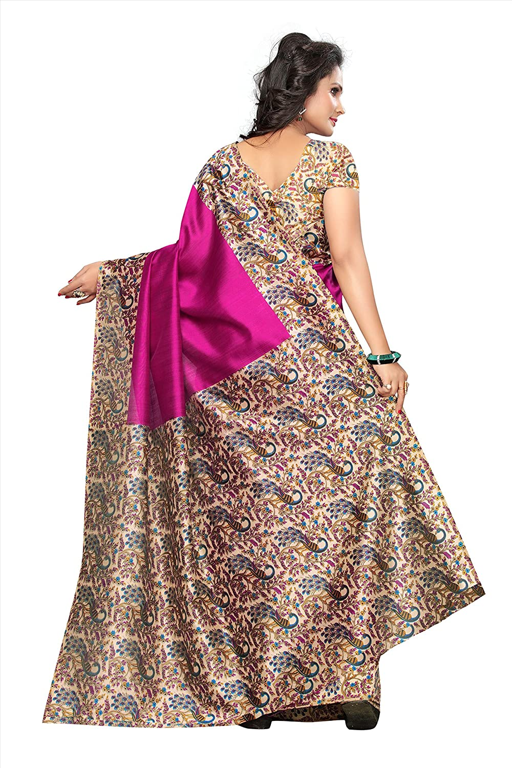 Beautiful Pink Color Silk Saree With Blouse Piece For Festive Wear