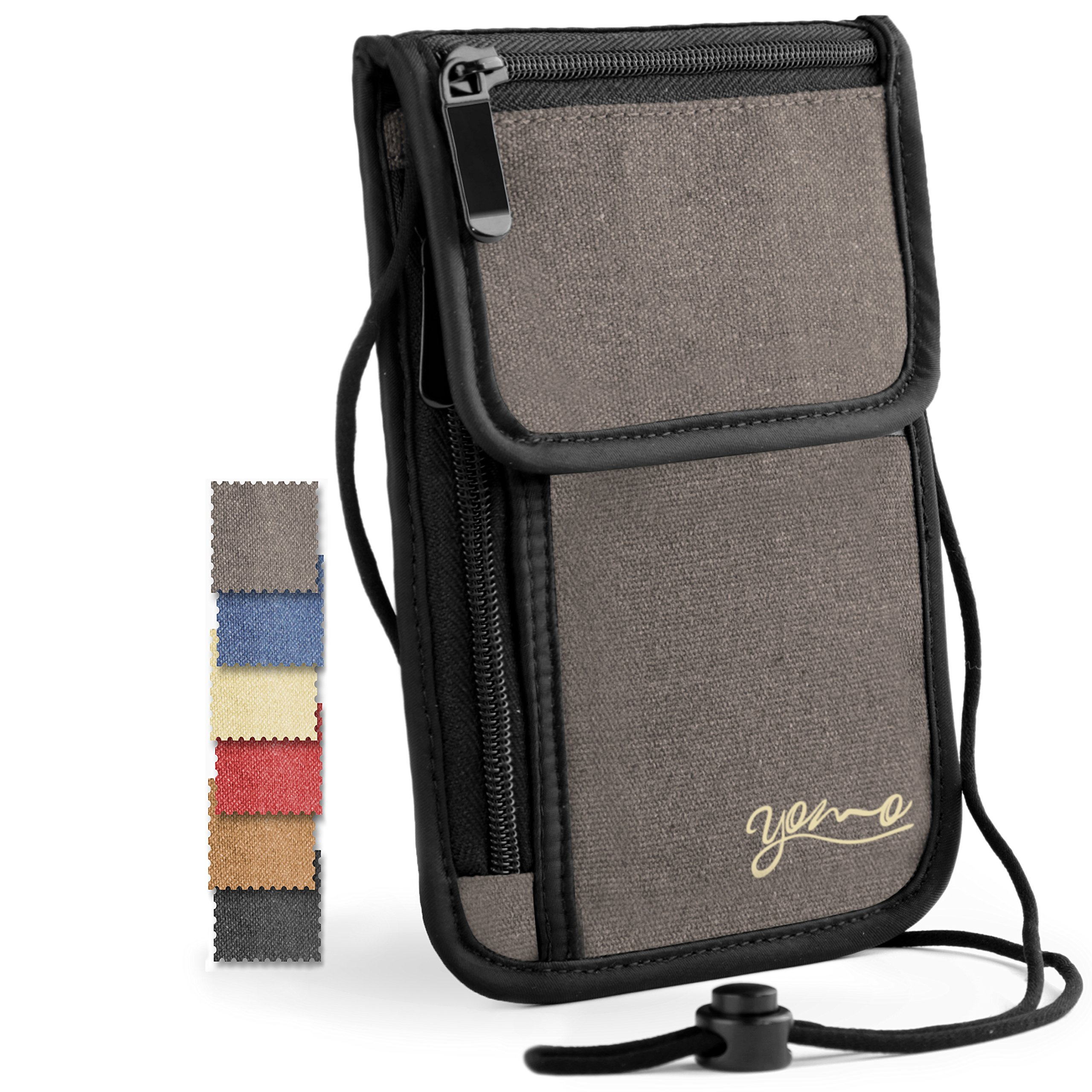 Passport Holder- by YOMO. RFID Safe. The Classic Neck Travel Wallet. (Grey-Deluxe)