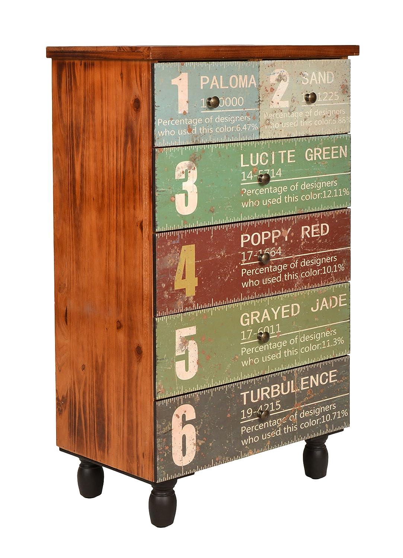 Ts-ideen Design Kommode Schrank Regal im Shabby Used Style Style Style Holz mit Druck und 6 Schubladen 92 x 56 cm d6bd6f