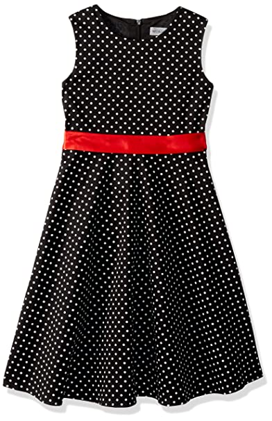 8a69408a15a Amazon.com  MUADRESS Girls Sleeveless O-Neck Audrey 1950s Vintage Swing  Princess Easter Party Dress BlackSmallWhiteDot XS  Clothing