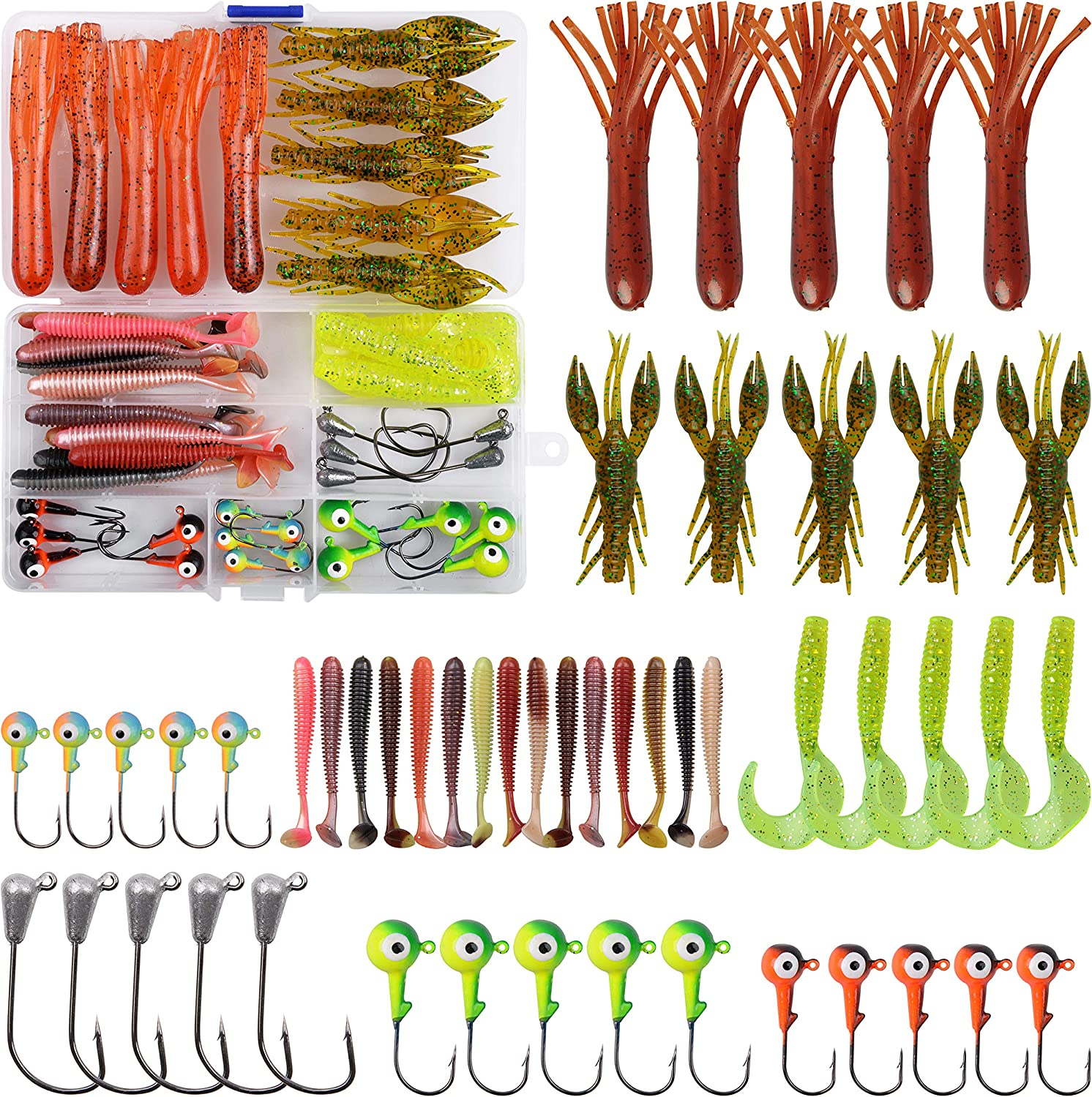 Soft Fishing Lures for Bass, Paddle Tail Swimbaits, Tube Baits, Crawfish, Curved Tail Grubs with Jig Heads for Freshwater Saltwater
