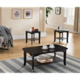 3-Piece Kings Brand Espresso Finish Occasional Coffee Table with 2 End Tables