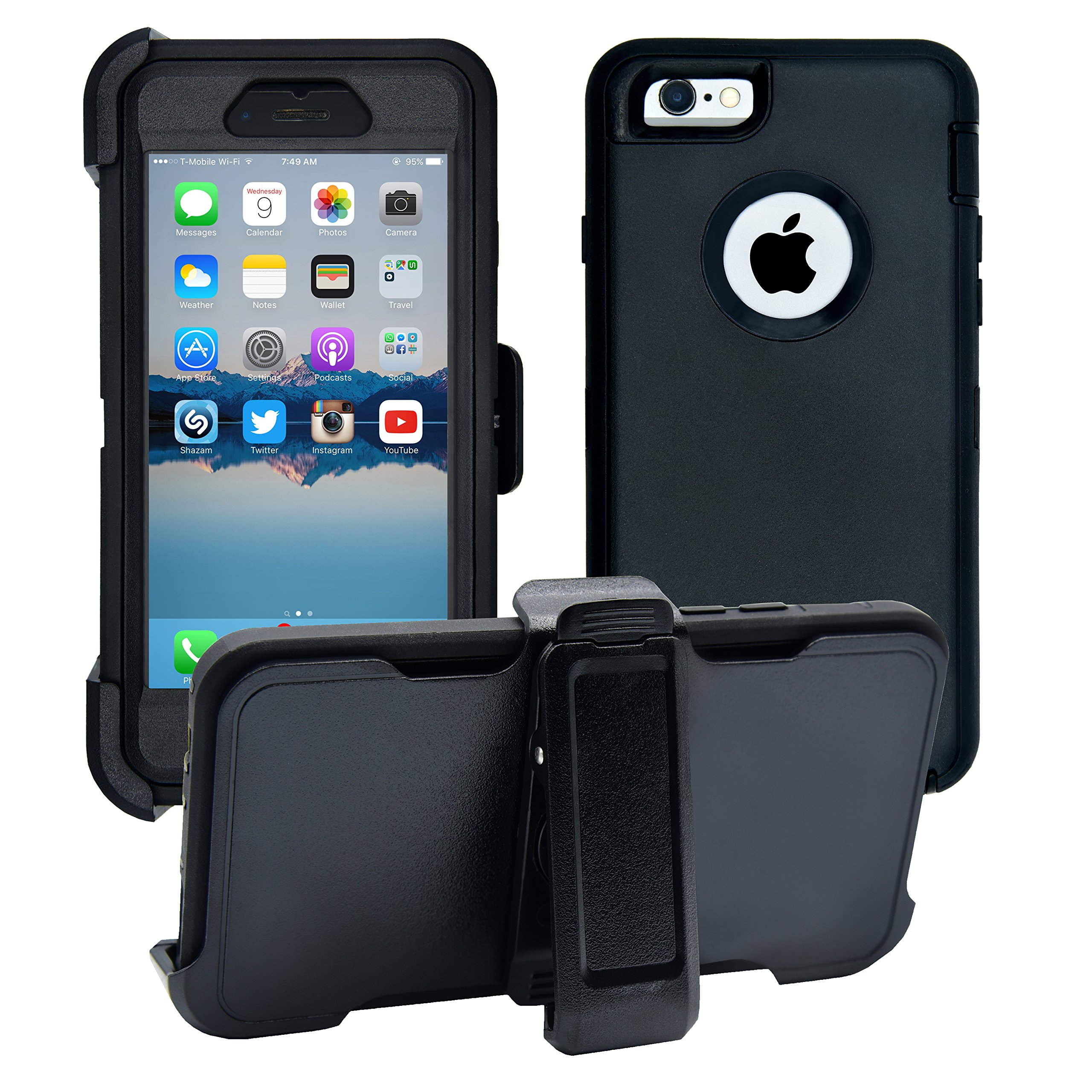 iPhone 6 / 6S Cover   2-in-1 Screen Protector & Holster Case   Full Body Military Grade Edge-to-Edge Protection with carrying belt clip   Drop Proof Shockproof Dustproof   Black / Black