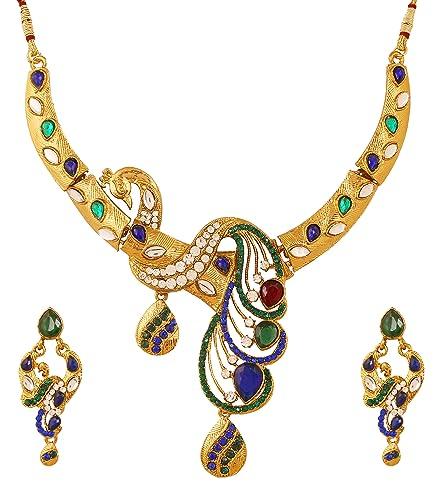 30abc37ce Touchstone Parure de bijoux indiens Bollywood avec pierres Kundan ...