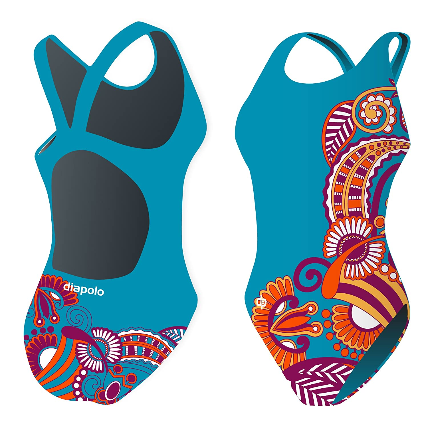 Diapolo Floral Blue Flowers Collection Swimsuit Swimming Synchronised Swimmers Beach Ball Thriathlon