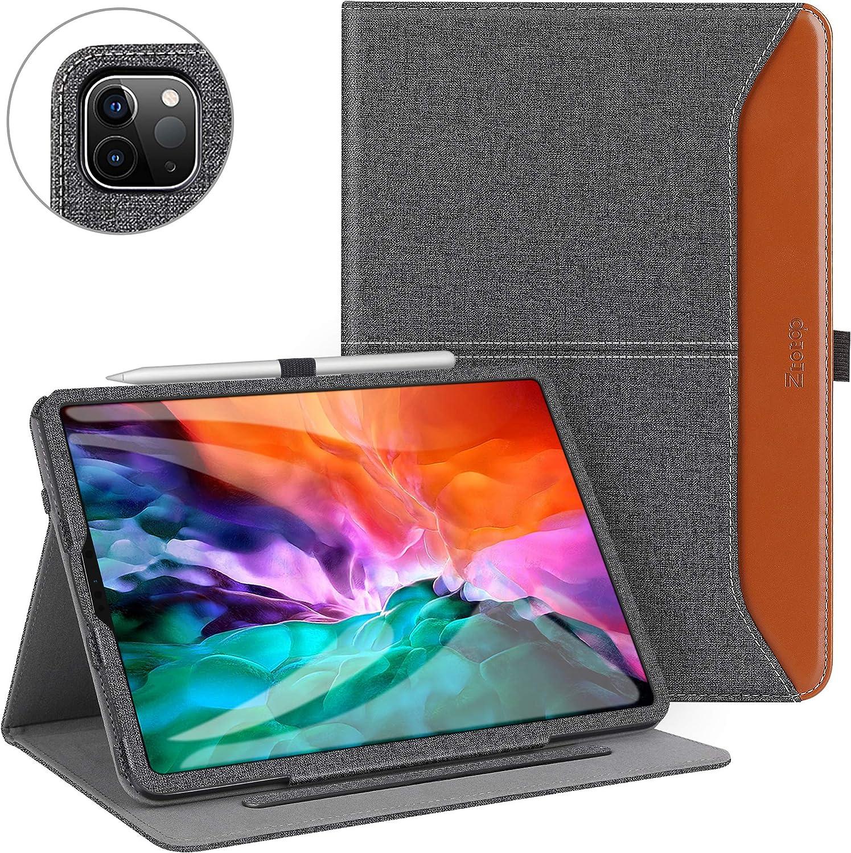 Ztotop Funda para iPad Pro 12.9 2020 (4.a generación), Cuero de Primera Calidad, con Soporte para Carga de Lápiz iPad de Segunda Generación y Función de Activación/Reposo Automático,Denim Negro