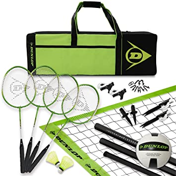 Dunlop Volleyball Badminton Lawn Game 11 Piece Outdoor Backyard Party Set With Carrying Case