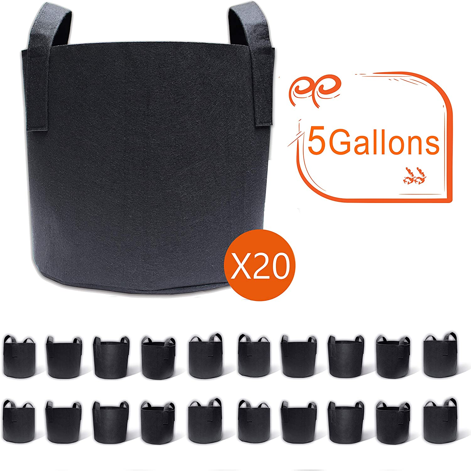 Gardzen 20-Pack 5 Gallon Grow Bags, Aeration Fabric Pots with Handles