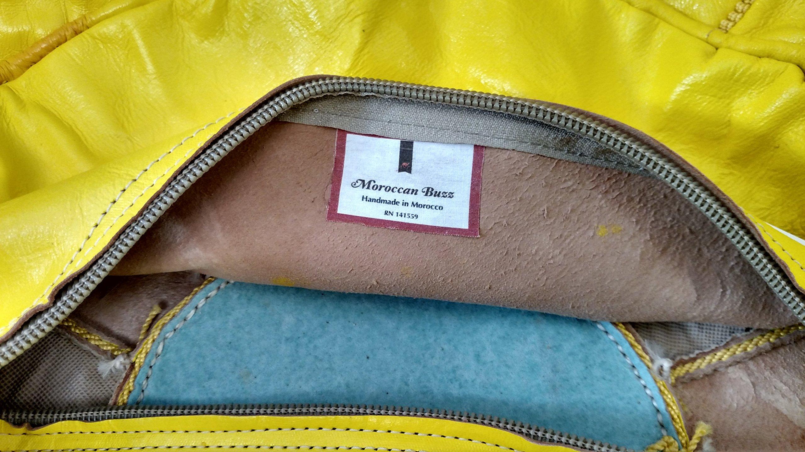 Moroccan Buzz 18-Pound Premium Stuffed Leather Pouf Ottoman, Lemon Yellow
