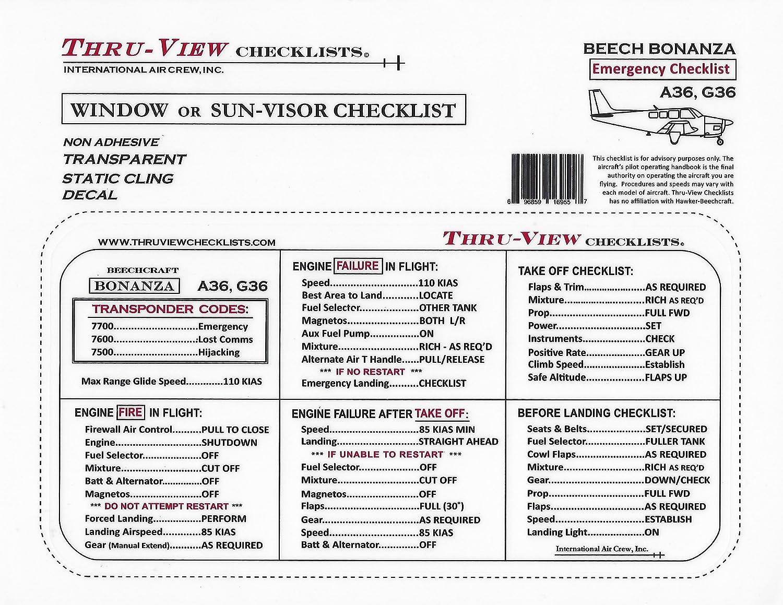Amazon com: Thru-View Emergency Checklist - Beechcraft