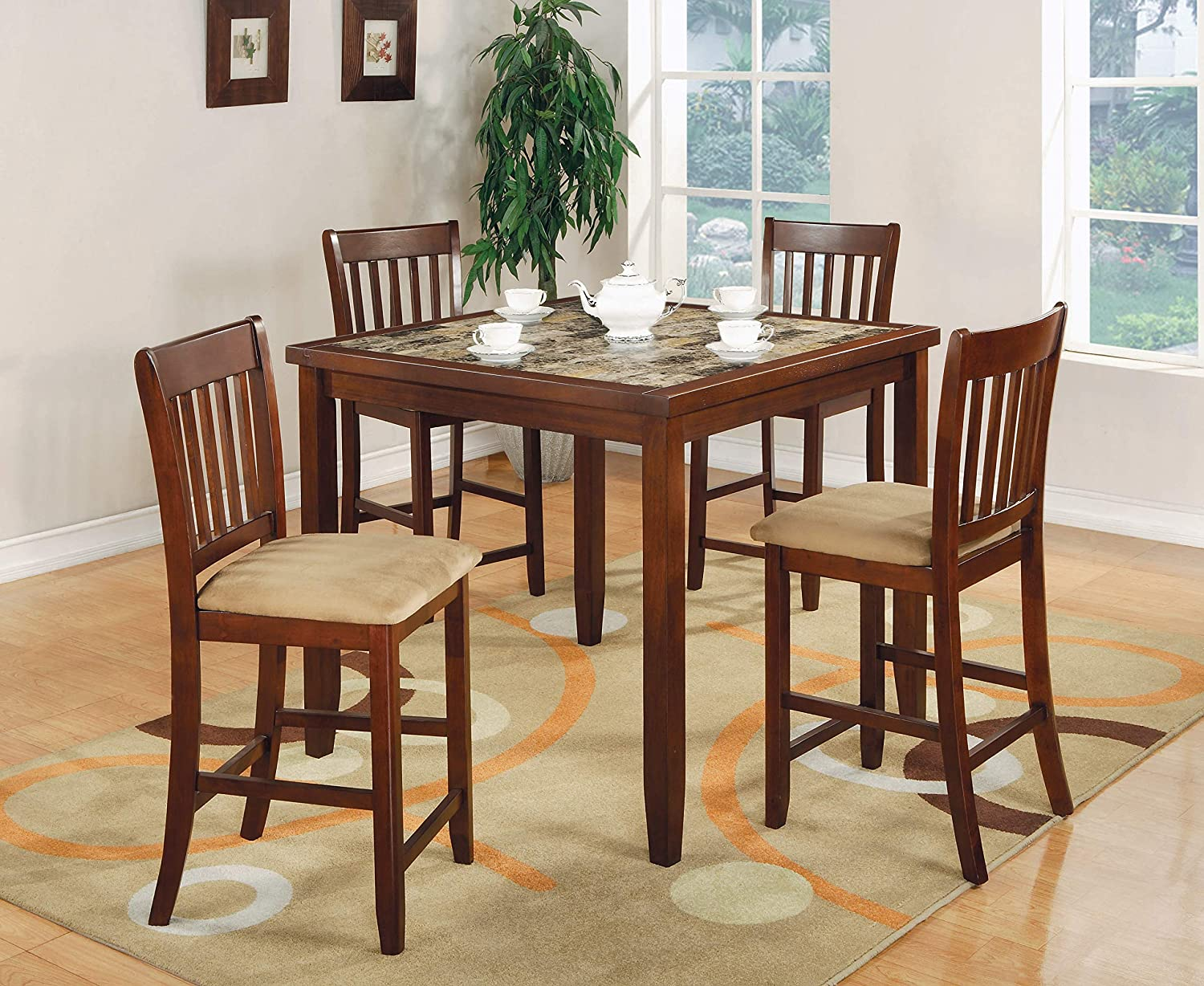 Amazon Com 5 Piece Counter Height Dining Set Red Brown And Tan Table Chair Sets