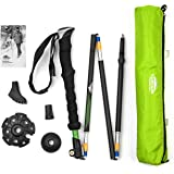 Cascade Mountain Tech Durable Aluminum Compact Folding Collapsible Trekking Hiking Poles with Ergonomic EVA grip including Removable Tip Options, Green