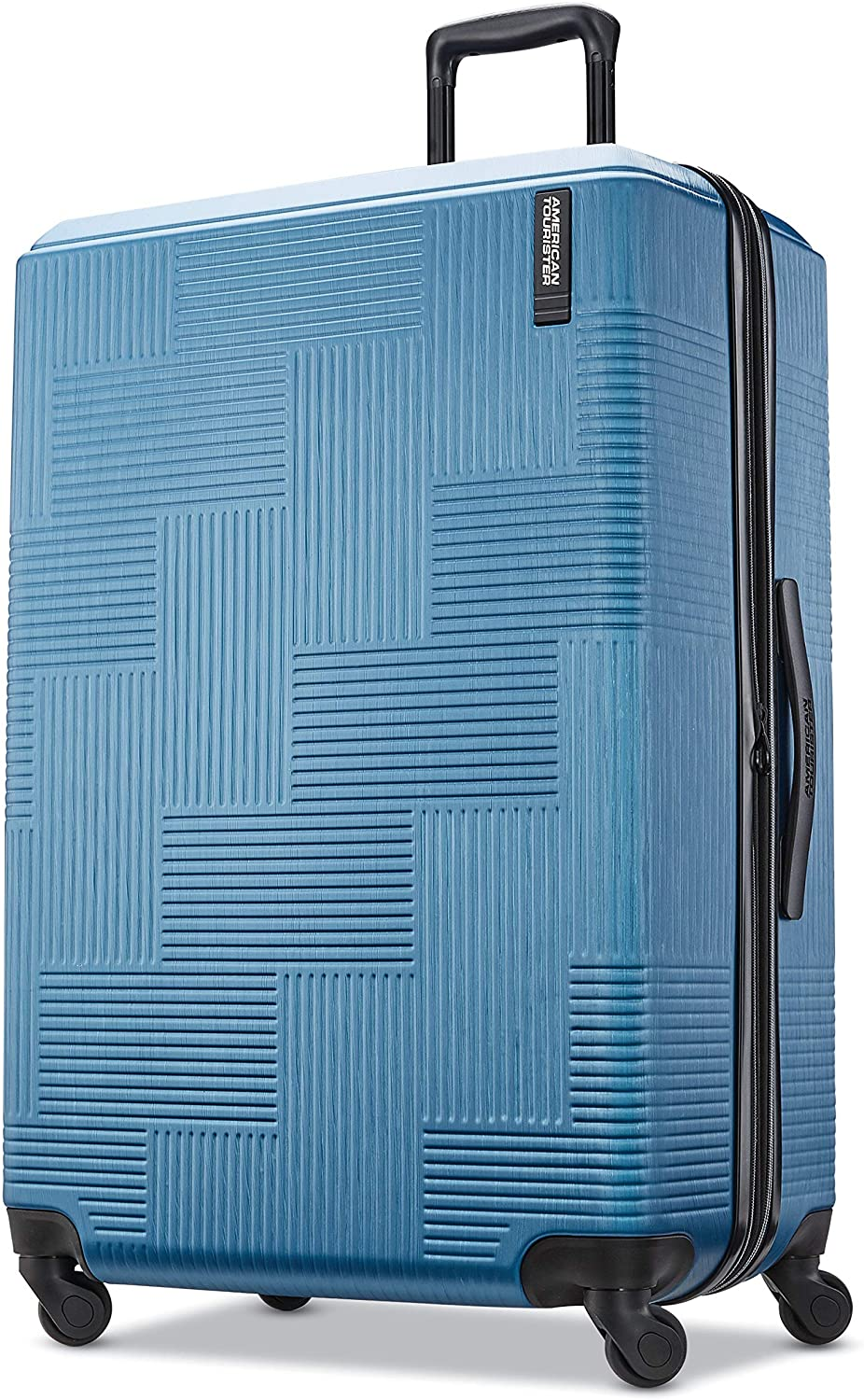 American Tourister Stratum XLT Expandable Hardside Luggage with Spinner Wheels, Blue Spruce, Checked-Large 28-Inch