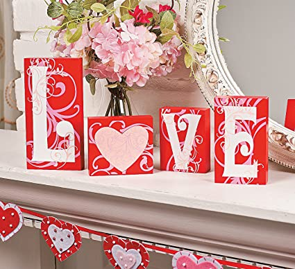 Amazon Com Love Blocks Valentines Day Home Decor Home Kitchen
