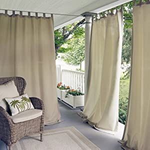 "Elrene Home Fashions Indoor/Outdoor Solid UV Protectant Tab Top Single Window Curtain Panel Drape for Patio, Pergola, Porch, Deck, Lanai, and Cabana Matine Taupe 52""x95"" (1 Panel)"