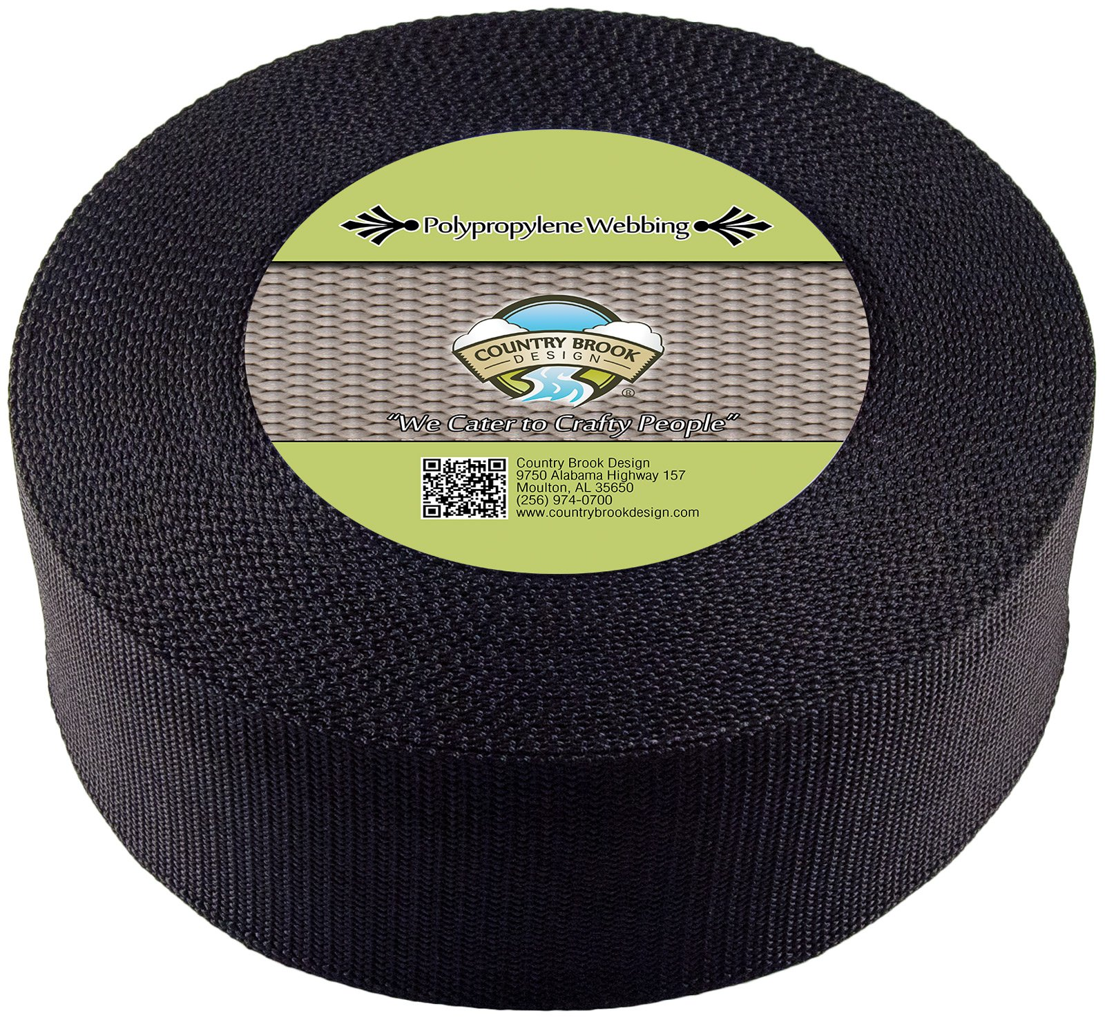 Country Brook Design 3 Inch Black Heavy Polypropylene (Polypro) Webbing, 5 Yards