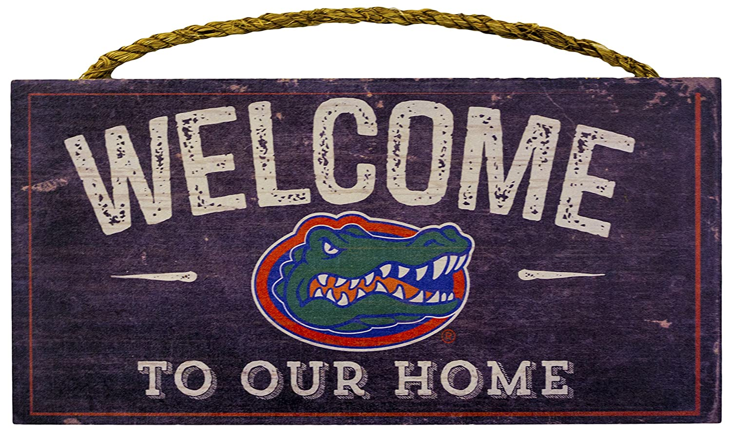 "NCAA Florida Gators 12"" x 6"" Distressed Welcome to Our Home Wood Sign"