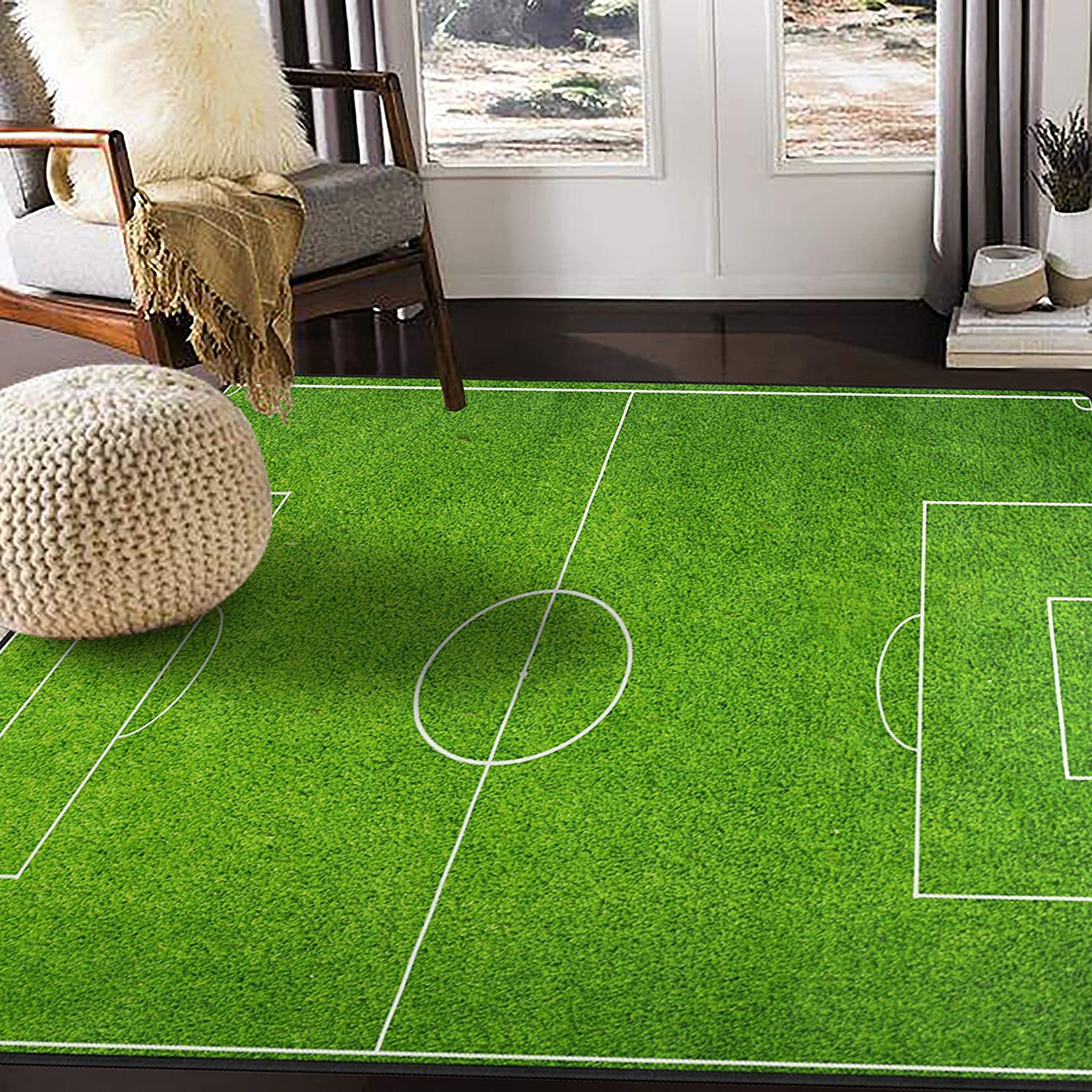 ALAZA Soccer Green Football Stadium Area Rug Rugs Mat for Living Room Bedroom 7\'x5\' 91XvVuIowlL