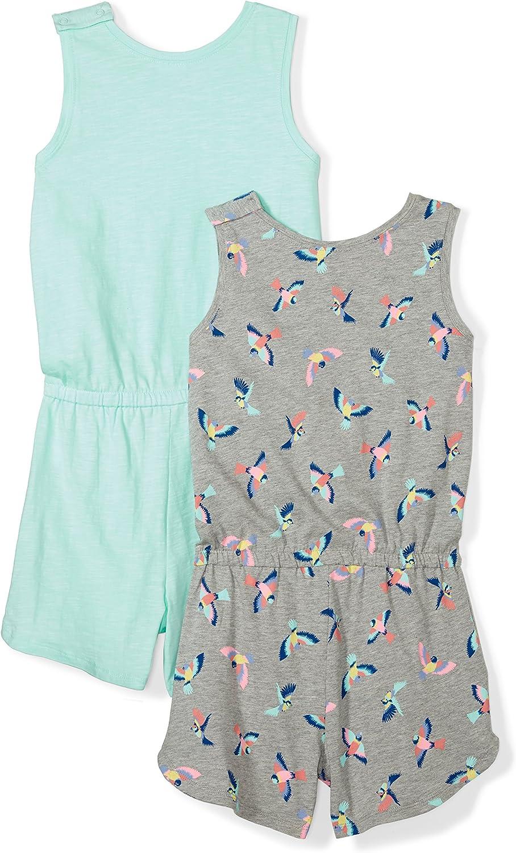 Spotted Zebra Girls Toddler /& Kids 2-Pack Knit Sleeveless Tank Rompers Brand