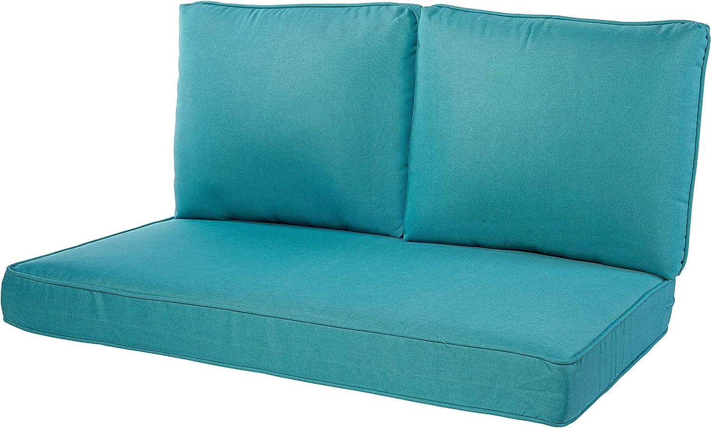 Quality Outdoor Living 29-TQ46LV 29-TQ02LV Loveseat Cushion, 46 x 26 3PC, Turquoise