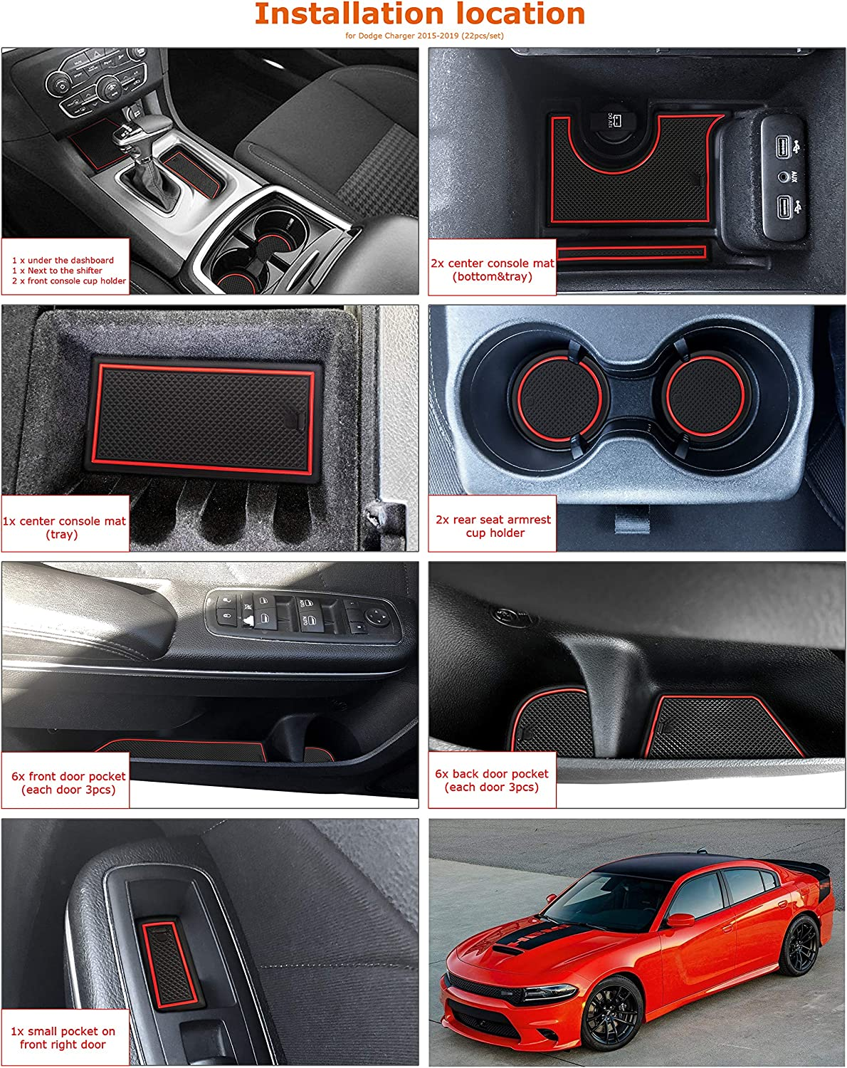 Auovo Anti dust Mats for Dodge Charger 2015 2016 2017 2018 2019 2020 Accessories Custom Fit Door Pocket Liners Cup Holder Pads Console Mats Orange 22pcs//Set