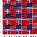 University of Mississippi Rebels Cotton Fabric, Red & Navy Blue - Sold By the Yard