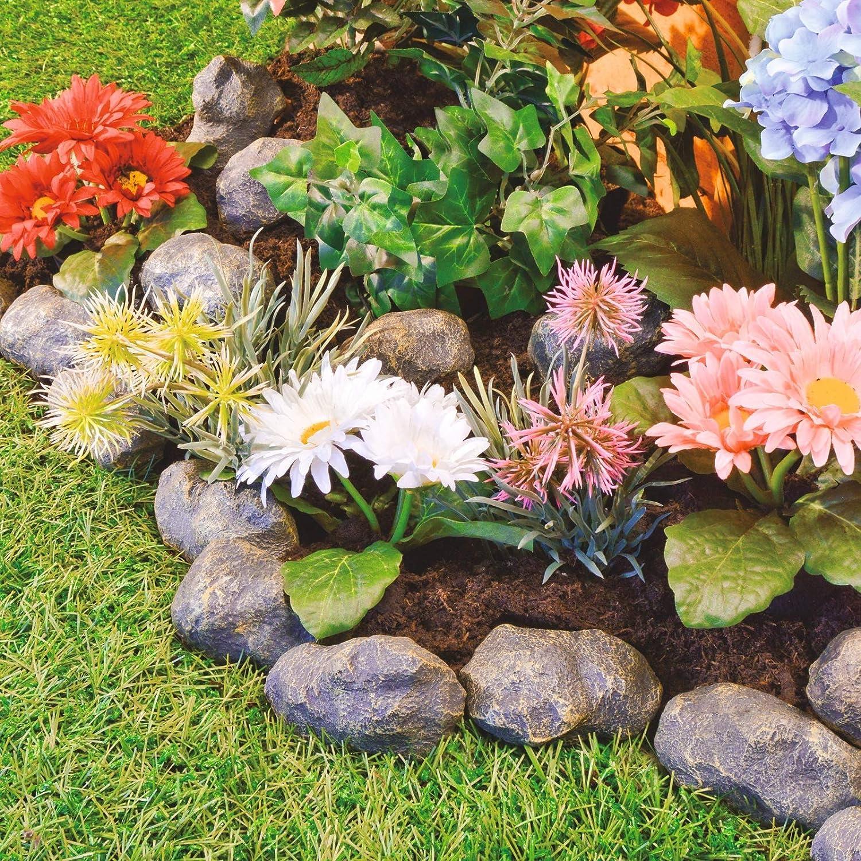 Burwells 14 Piece Stone Effect Plastic Garden Edging - Hammer-In Lawn Pebble Border/Rockery