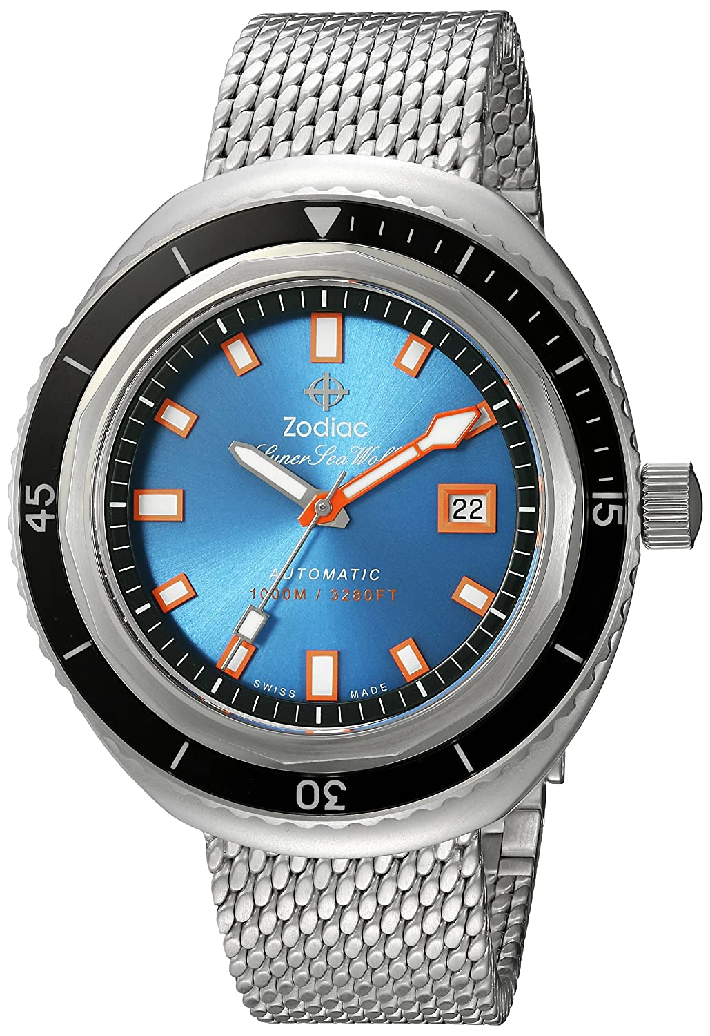 Zodiac Men's 'Super Seawolf 68 Extreme' Swiss Automatic Stainless Steel