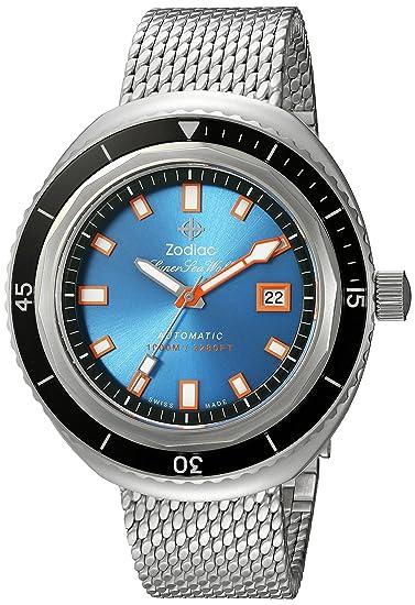 "Zodiac ZO9502 - Reloj casual suizo de acero inoxidable para hombre ""Super Seawolf 68"