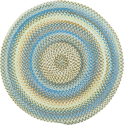 "7'6″ x 7'6″ Round Made-to-Order Oscar Isberian Rugs Area Rug Light Blue Color Hand Braided USA ""Kill Devil Hill Collection"""