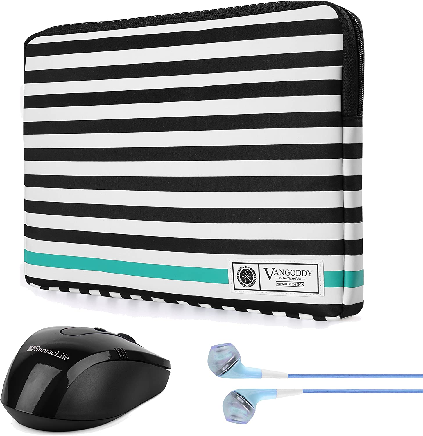 Vangoddy Luxe B Series Black White Stripe Slim Padded Compact Carrying Sleeve for Fujitsu Lifebook Series 13.3 inch 14 inch Tablet Laptop with Wireless Mouse with Headphone