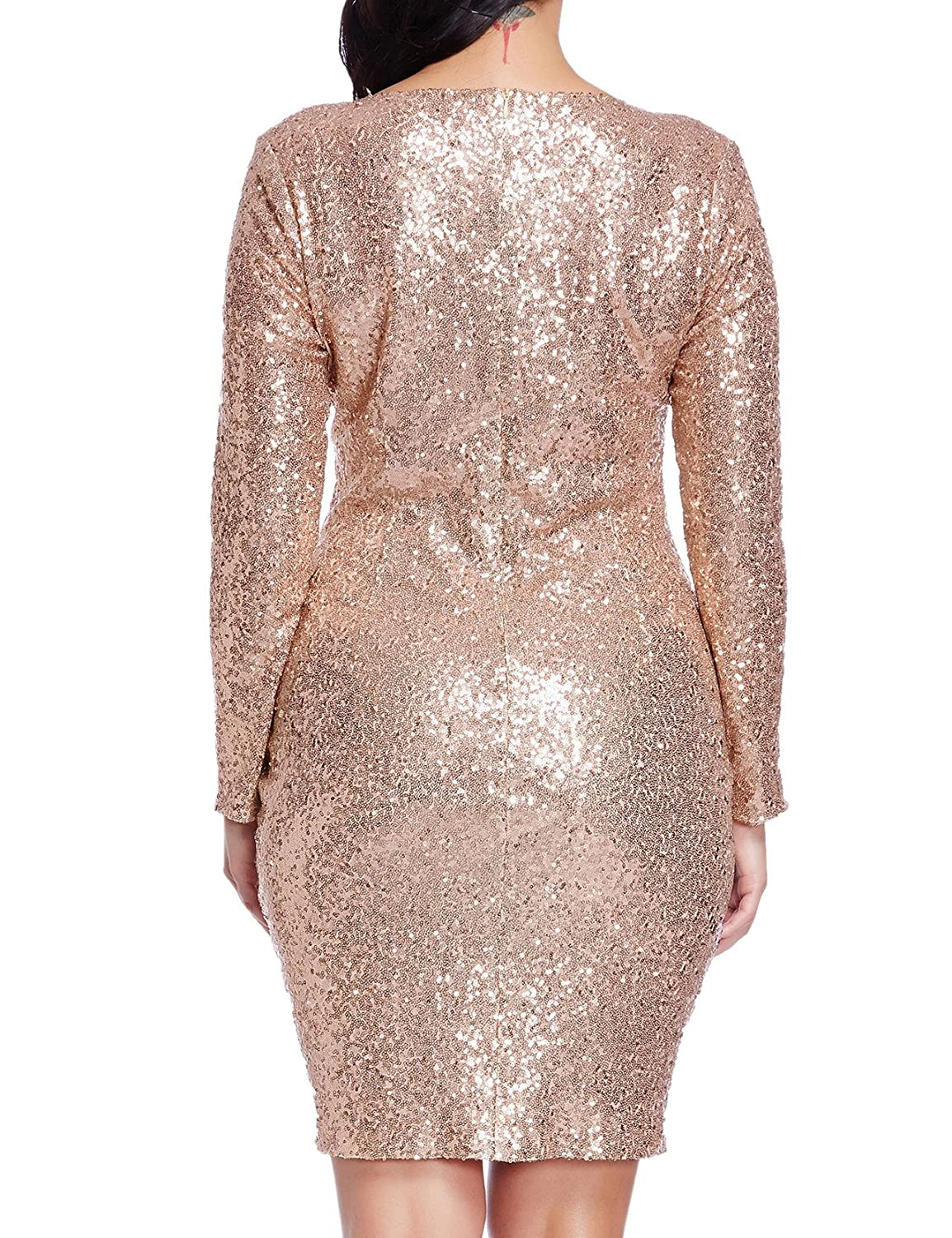4ce4606f Grapent Women's Plus Size Sequin Cocktail Sheath Short Dress Bodycon Long  Sleeve Rose Gold 22W: Amazon.ca: Luggage & Bags