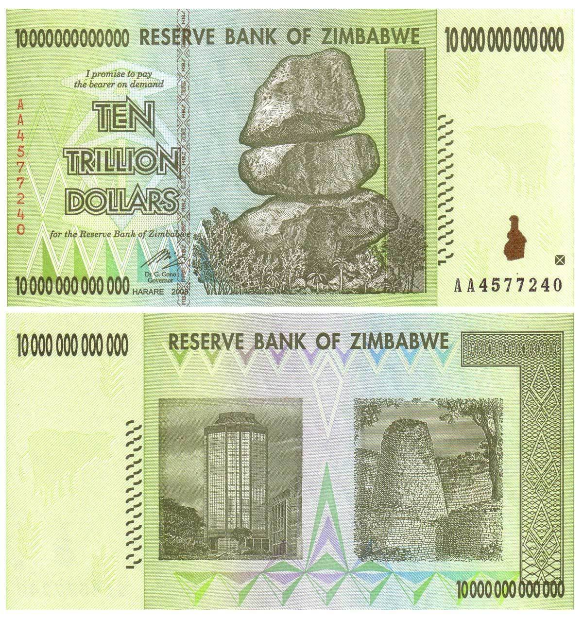LOT OF 5 - 10 TRILLION $ ZIMBABWE NOTES BILLS MONEY UNCIRCULATED BANKNOTES - rare, limited