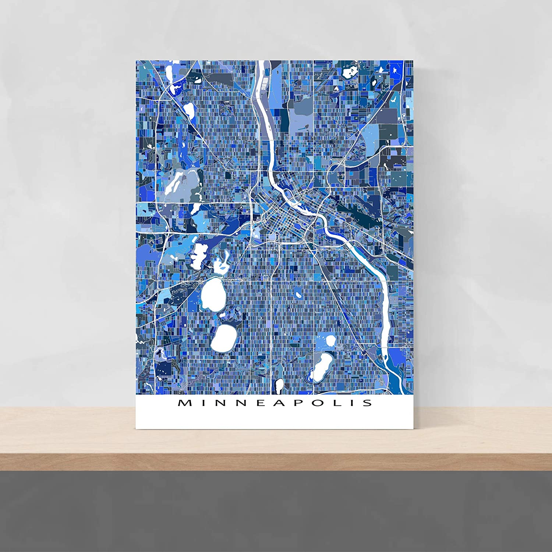 Amazon.com: Minneapolis Map Print, Minnesota, USA City Wall ...