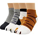 JJMax Girl's Cute Kitty Cat Paws Socks with Paw Prints on Toes (Ankle Height)