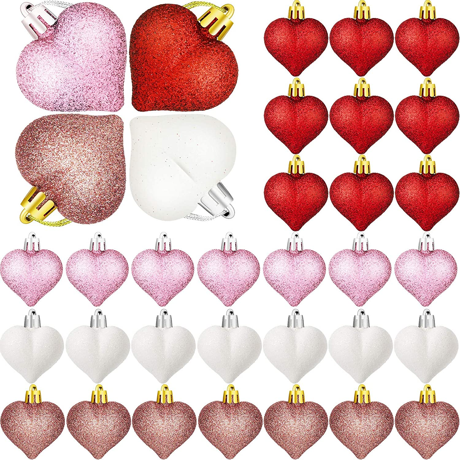 36 Pieces Glitter Heart Shaped Hanging Ornaments Colorful Heart Shaped Baubles Valentine's Day Heart Ornaments Christmas Tree Plastic Heart Baubles for Valentine's Day Wedding Anniversary Decor
