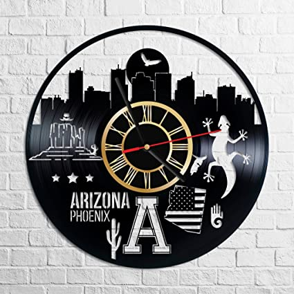 Amazon.com: Phoenix Arizona Wall Clock Made of Vintage Vinyl Records ...