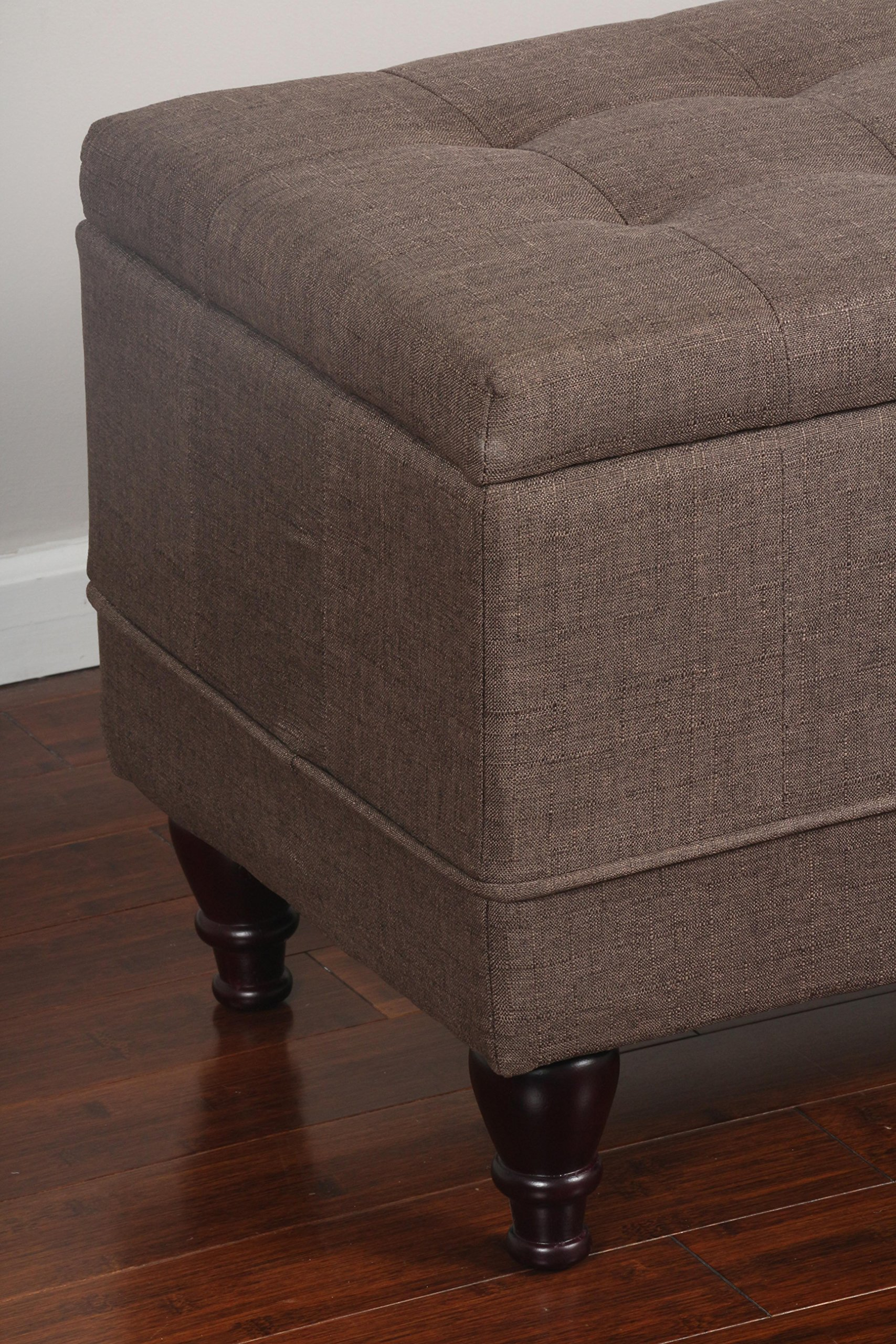 Home Life 59'' x 17'' Extra Long Front of Bed Storage Lift Top Bench Ottoman, Queen, Brown by LIFE Home (Image #3)