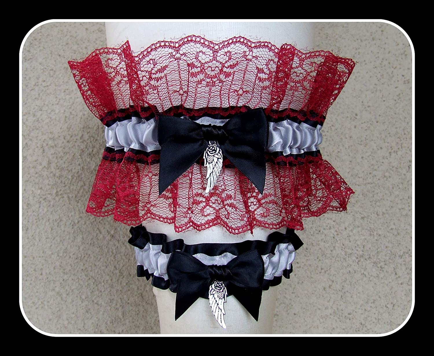 Bridal garters make the perfect gift for her! Personalized garters on lace color of your choice Customizable garters for wedding or prom