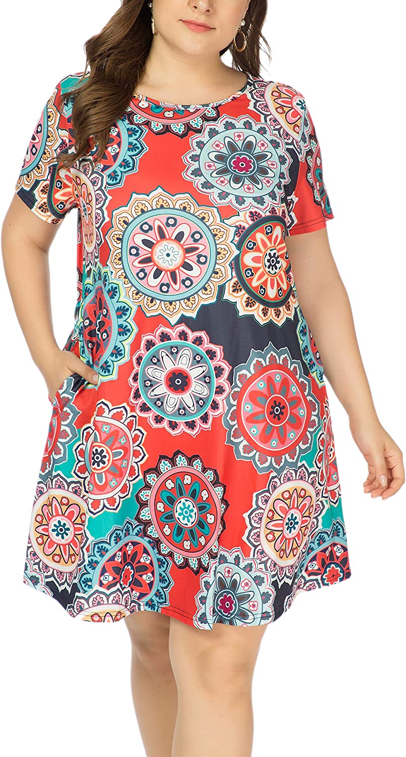 HBEYYTO Womens Plus Size Short Sleeve Loose Dress Casual Swing T Shirt Dresses with Pockets XL-5XL