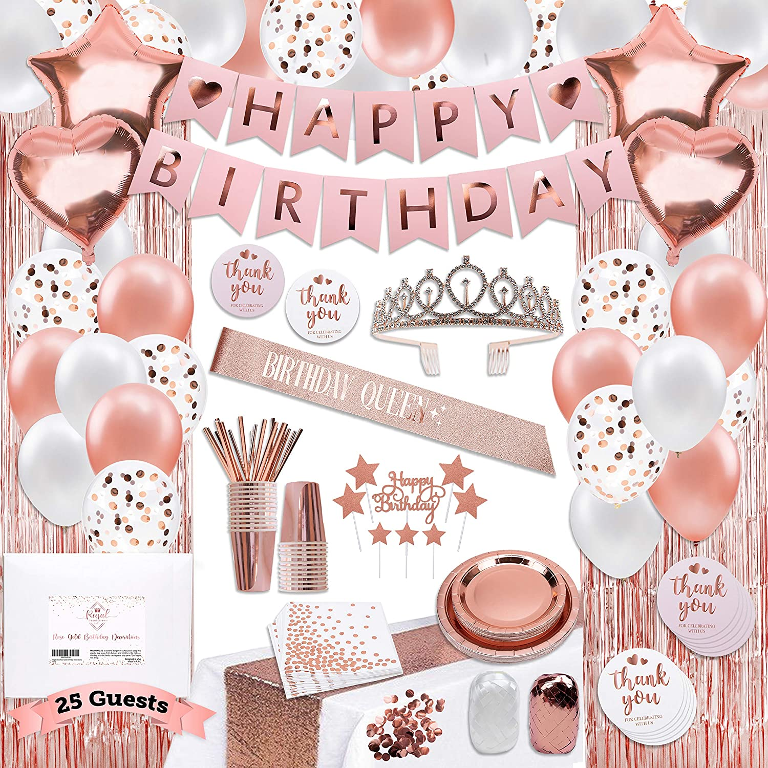 225 PC Rose Gold Birthday Party Decorations Kit for Girls, Teens, Women - Happy Birthday Banners, Curtains Table Runner Balloons, Sash Tiara Cake Topper Plates Cups Napkins Straws for 25 Guest & More