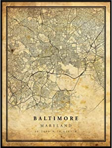 Baltimore map Vintage Style Poster Print   Old City Artwork Prints   Antique Style Home Decor   Maryland Wall Art Gift   map Vintage 8.5x11