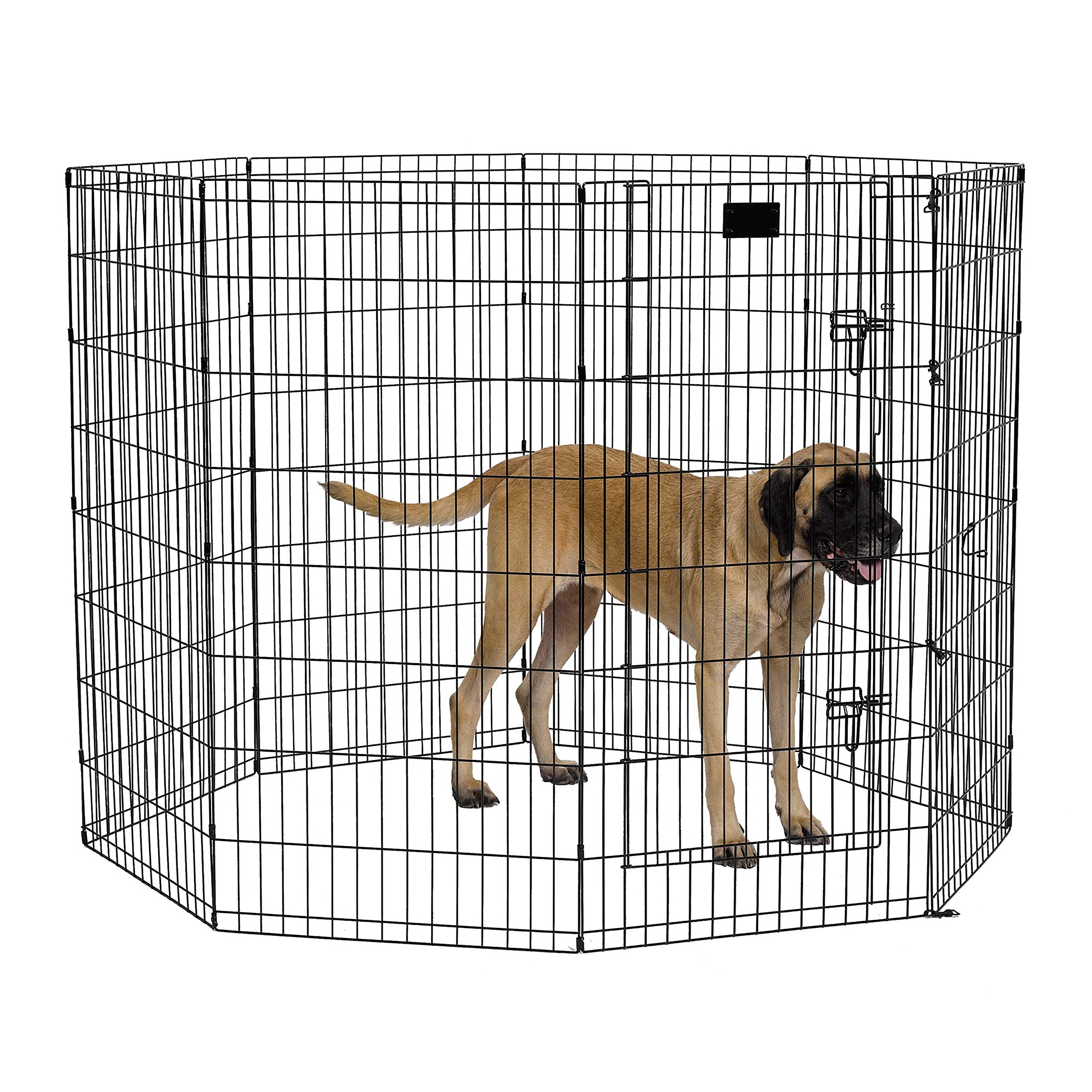 MidWest Foldable Metal Exercise Pen / Pet Playpen, Black w/ door, 24''W x 48''H by MidWest Homes for Pets